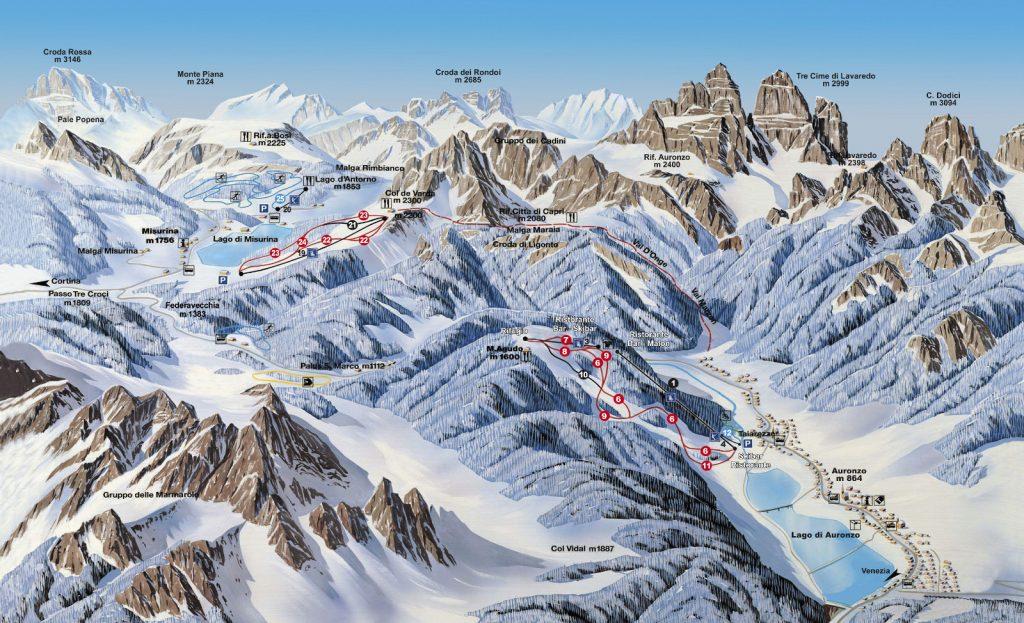 Lo skiarea AURONZO MISURINA